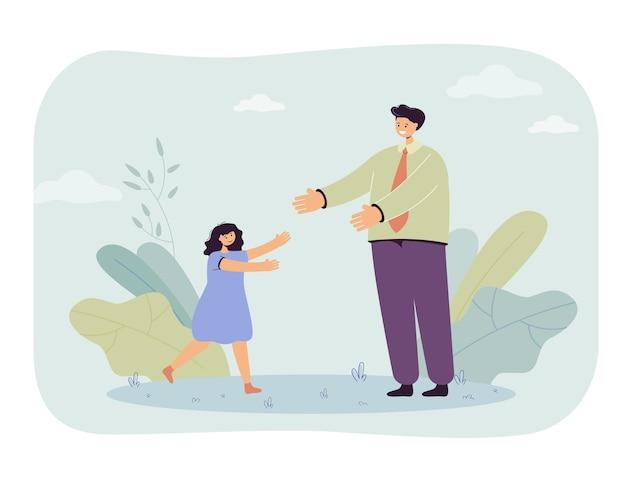 Dochter groet vader na het werk