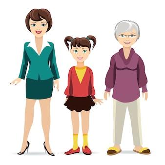 Dochter, moeder en grootmoeder. generatie en jeugd, volwassenheid en ouderdom.