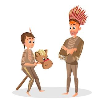 Dochter vader speel in indiaans kostuum