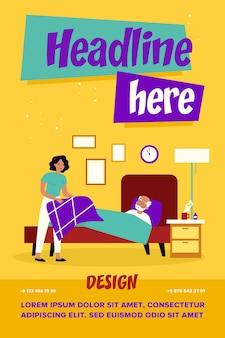 Dochter zorgt voor zieke bejaarde vader. vrouw deken geven man liggend in bed met thermometer platte vectorillustratie
