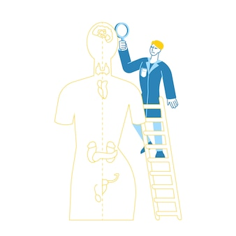 Doctor character endocrinologist in medical robe stand op ladder