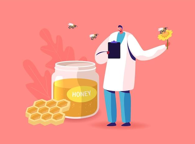 Doctor character hold flower met bij die rondvliegt glazen pot met honing en honingraten met rondvliegende bijen