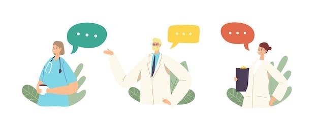 Doctor characters in medical robe meeting voor concilium. ziekenhuispersoneel met stethoscoop, klembord en koffiekopje in kliniek bespreken problemen met het medische beroep. cartoon mensen vectorillustratie
