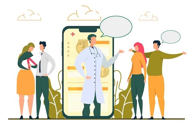Doctor consulting vruchtbaarheid probleem vrouw online