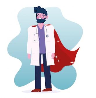 Doctor held, karakter medisch personeel professionele cartoon