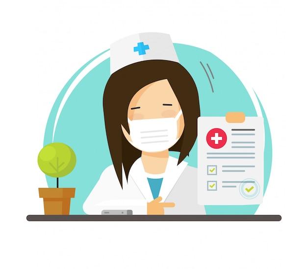 Doctor in de medische gezichtsmasker of arts vrouw persoon met goede gezonde test check-up resultaten lijst pictogram platte cartoon afbeelding, medic vrouwelijke karakter en papier verslag modern design afbeelding