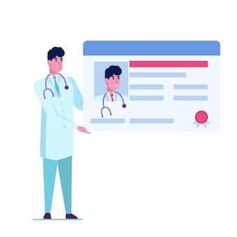 Doctor karakter houder licentie of certificaat