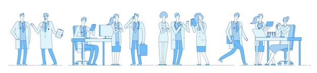 Doctor karakters. artsen die vergadering spreken die aan computerlaptop werken. ziekenhuis voor medische mensen. medische onderwijslijn
