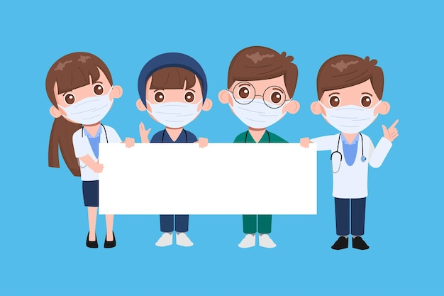 Doctor tekenset. gezondheidszorgmedische mensen in het ziekenhuis