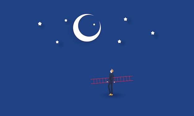 Document kunst van zakenman die met ladder aan de maan, de zaken van de concepteninspiratie kijken