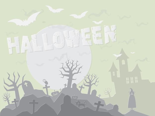Document kunststijl van halloween-achtergrond, vectorformaat