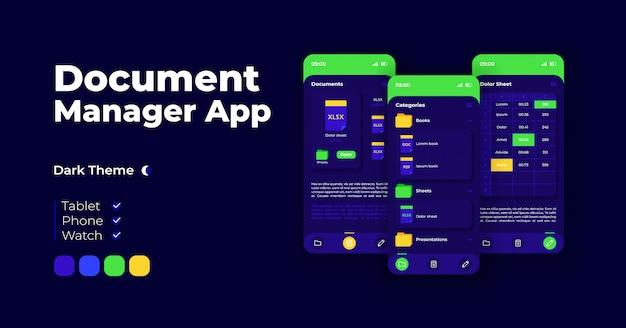 Document manager cartoon smartphone-interface vector sjablonen instellen