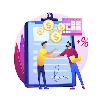 Document met financiële verplichtingen. promesse, leningsovereenkomst, belofte van schuldteruggave. ondertekening contract uitgever en begunstigde. zakenlieden maken deal