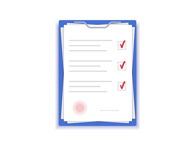Document met stempel. overeenkomstpapieren. contract met handtekening. plat ontwerp.