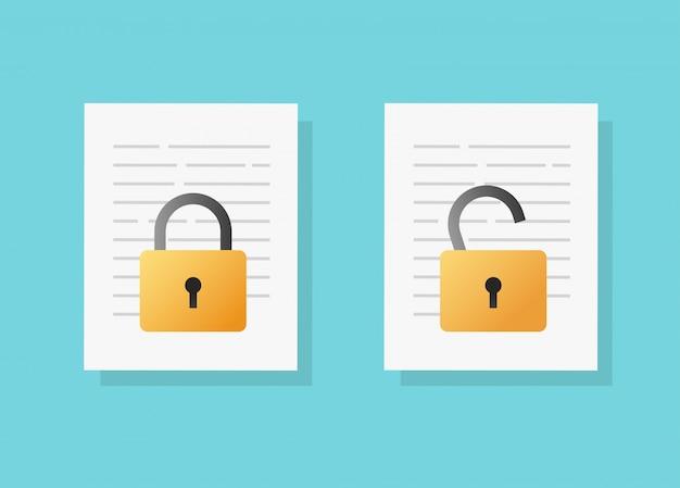 Document veilige vertrouwelijke online toegangsvergrendeling en ontgrendeling of internetprivacybescherming op tekstbestand vector platte cartoon