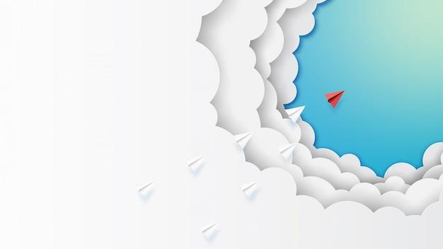 Document vliegtuigengroepswerk die op wolken en blauwe hemel vliegen