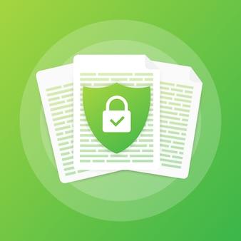 Documentbeschermingsconcept, vertrouwelijke informatie en privacy. beveilig gegevens met papieren doc-rol en beschermkap