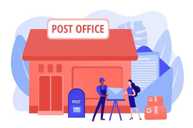 Documenten, brieven koerier bezorgen. postdiensten. postkantoordiensten, postbezorgingsagent, postkantoor kaartrekeningen concept. roze koraal bluevector geïsoleerde illustratie