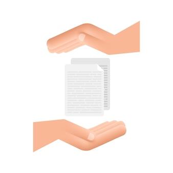 Documenten papieren in vlakke stijl in handen. vectorontwerp. zakelijke pictogram. plat ontwerp.