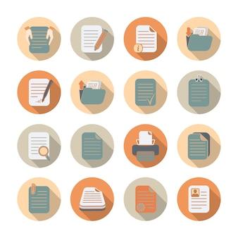 Documentenmappen en dossiers die vlakke pictogrammen met schaduwreeks geïsoleerde vectorillustratie verwerken en opslaan