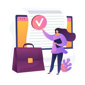 Documentevaluatie. verifiëren, goedgekeurd, valideren. ondertekening officieel contact, overeenkomst. zakenvrouw stripfiguur met werkmap. vector geïsoleerde concept metafoor illustratie