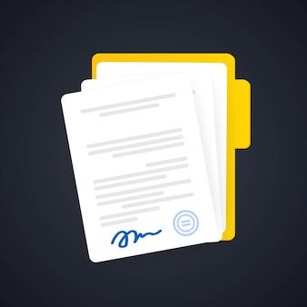 Documentpictogram of papieren documenten in map met handtekening en tekst