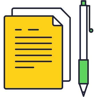 Documentpictogram platte vector papieren cv-formulier