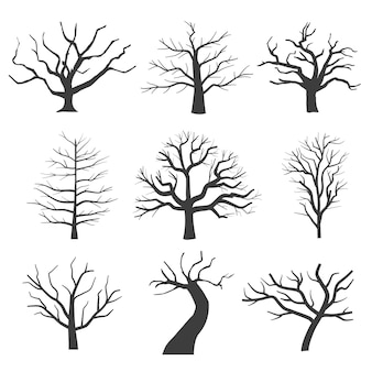 Dode boom silhouetten. stervende zwarte enge bomen bos illustratie. natuurlijke stervende oude boom van set