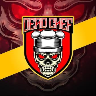 Dode chef-kok esport mascotte logo ontwerp