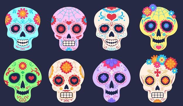 Dode dag schedels. dia de los muertos decoratie met bloemen en schedels, tattoo bloemmotief, traditionele mexicaanse festival vector set. doodsvakantieviering, schedel met helder ornament