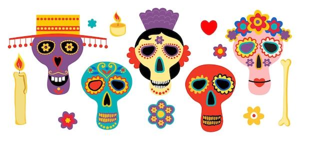 Dode dag schedels mexicaanse suiker menselijk hoofd botten halloween tattoo dia de los muertos vector set