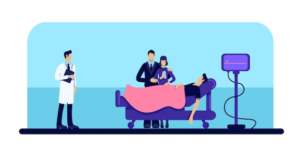 Dode man in ziekenhuis egale kleur. persoon verlies. familie verdriet. lichaam in medische kliniek. patiënt en arts 2d tekenfilms karakter met bed op wielen en cardiogrammonitor op achtergrond