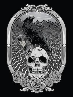 Dode schedel met kraai en heraldisch frame
