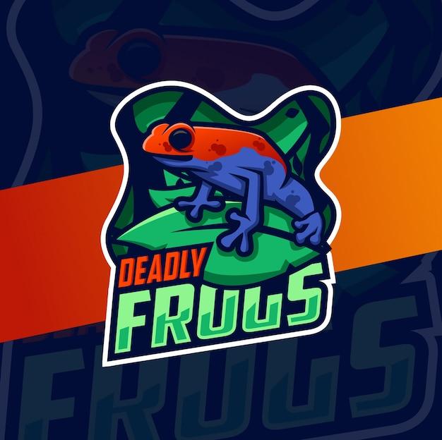 Dodelijk gifkikker mascotte logo ontwerp