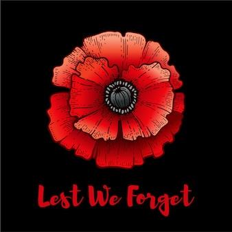 Dodenherdenking. poppy met lest we forget tekst. armistice remembrance en anzac achtergrond. bloem illustratie voor oorlogsmonument. poster van 11 november. canada, australië banner met rode papaver