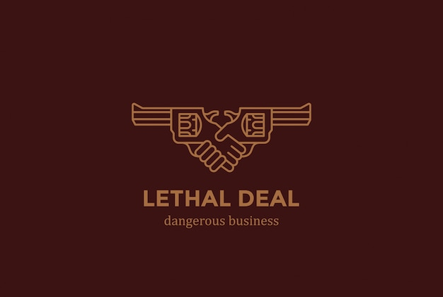 Dodingscontract gevaarlijke deal handdruk met geweren logo ontwerpsjabloon lineaire stijl. danger killer handen schudden logotype concept pictogram.