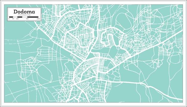 Dodoma tanzania stadsplattegrond in retro stijl. overzicht kaart. vectorillustratie.