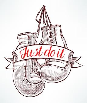 Doe het gewoon. rode bokshandschoenen. handgetekende illustratie