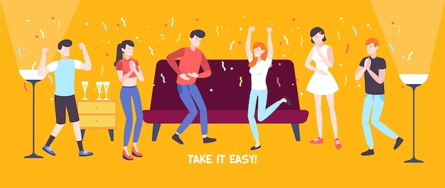 Doe het rustig aan platte compositie met een groep gelukkige dansende mensen in een platte illustratie van het interieur,