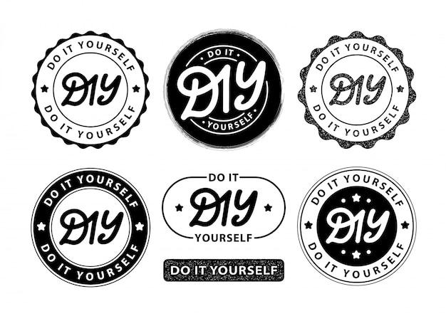 Doe het zelf. belettering logo stempels