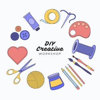 Doe het zelf creatieve workshop en tools