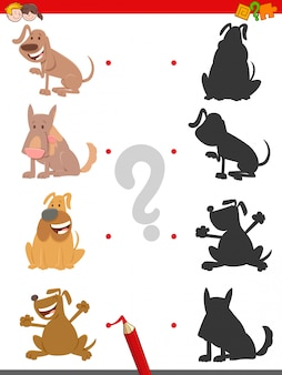 Doe mee met shadows educational game for kids with dogs