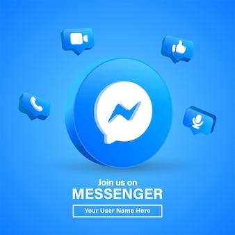 Doe met ons mee op messenger 3d-logo in moderne blauwe cirkel voor pictogrammen voor sociale media of neem contact met ons op banner