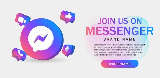 Doe met ons mee op messenger voor banner op sociale media met 3d-pictogram volg ons banners