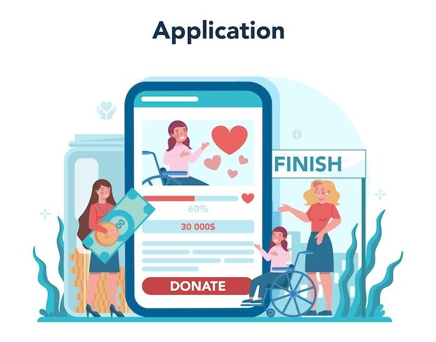 Doe vrijwilligerswerk voor online service of platform. liefdadigheidsgemeenschap ondersteunt mensen in nood.