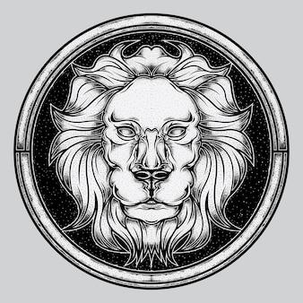 Doek hoofd witte leeuw