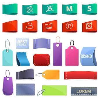 Doek label pictogrammen instellen. cartoon set doek label vector iconen