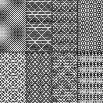 Doek naadloze patronen. fabric net vector texturen. lace meshes-collectie. mesh naadloze achtergrond instellen