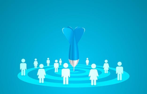 Doel bestemmingspagina persoon mensen banner bedrijf d pictogram vector Premium Vector