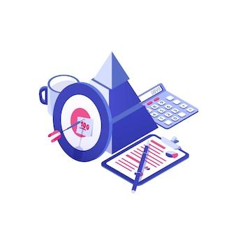 Doel en pijl, piramide, papieren document, mok en rekenmachine. bedrijfsplanning, strategie voor het behalen van projectdoelen, strategische ontwikkeling. kleurrijk